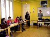 Marie Girin a rencontré des élèves de 3e. Photo Marie-Chantal Daspres