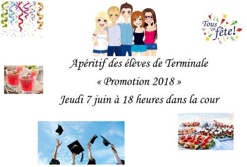 Affiche Promotion 2018 - Apéritif des terminales