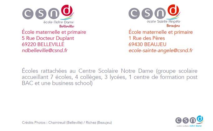 Vos écoles Notre-Dame à Belleville et Sainte-Angèle à Beaujeu