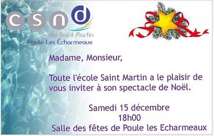 Invitation au spectacle de Noël de l'école Saint-Martin